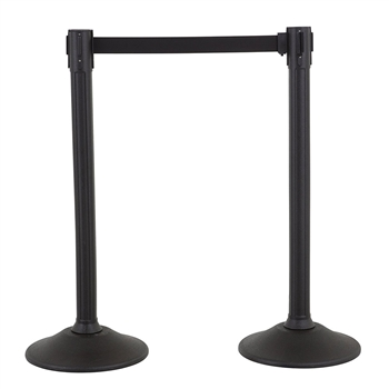 US Weight Sentry Stanchion, Black HDPE Post, Black 6.5' ft. Belt (2-Pack)