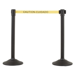 US Weight Sentry Stanchion, Black HDPE Post, Caution/Cuidada 6.5' ft. Belt (2-Pack)
