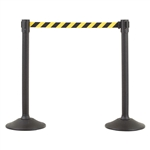 US Weight Sentry Stanchion, Black HDPE Post, Yellow/Black Chevron 6.5' ft. Belt (2-Pack)
