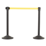 US Weight Sentry Stanchion, Black HDPE Post, Yellow 6.5' ft. Belt (2-Pack)