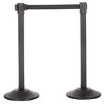 US Weight Sentry QS Stanchion, Black HDPE Post, Black 6.5' ft. Belt (2-Pack)