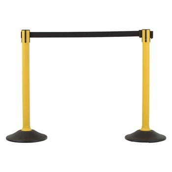 US Weight Sentry Stanchion, Yellow HDPE Post, Black 6.5' ft. Belt (2-Pack)