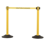US Weight Sentry Stanchion, Yellow HDPE Post, Caution/Cuidada 6.5' ft. Belt (2-Pack)