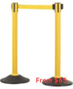 US Weight Sentry Stanchion, Yellow HDPE Post, Yellow 6.5' ft. Belt (2-Pack)