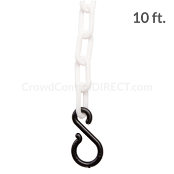 "Chainboss WHITE Plastic Safety 2"" Chain UV Resistant - 10ft bag with S-hooks (Multi-Pack)"