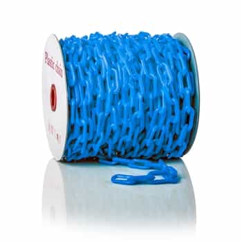 """ChainBoss High tensile strength 2"""" blue plastic chain with UV protection (125' reel)"""