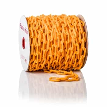 """ChainBoss High tensile strength 2"""" orange plastic chain with UV protection (125' reel)"""