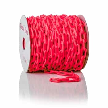 """ChainBoss High tensile strength 2"""" red plastic chain with UV protection (125' reel)"""
