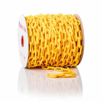 """ChainBoss High tensile strength 2"""" yellow plastic chain with UV protection (125' reel)"""