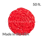 "Chainboss RED Plastic Safety 2"" Chain UV Resistant - 50ft box"