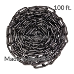 "Chainboss BLACK Plastic Safety 2"" Chain UV Resistant - 100ft box"
