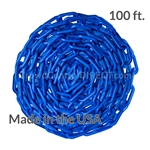 "Chainboss BLUE Plastic Safety 2"" Chain UV Resistant - 100ft box"