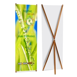 Eco-friendly Bamboo X Banner Stand Display