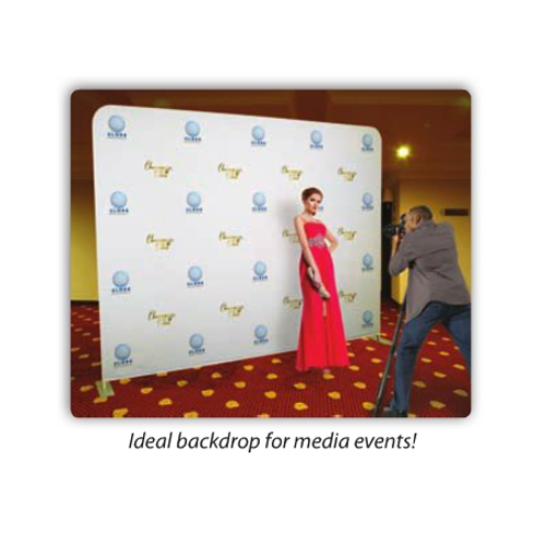 Step and Repeat Media Backdrop 10ft Tension Fabric Display