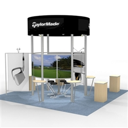 Island w/ Workstations Hybrid Trade Show Rental Display
