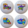 Plane Train Car and Boat Knobs - Set of 4
