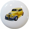 Yellow Hot Rod with Blue Flames Car Knob