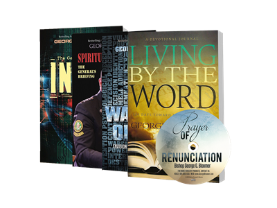 """Intel"", ""Spiritual Clearance"", ""Warrior Optics"", ""Prayer's of Renunciation CD"", and ""Living By the Word""."