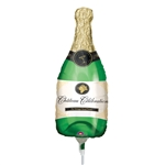 14 inch Champagne BOTTLE shaped mini foil balloon. By Anargram