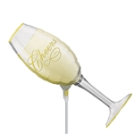 "14 inch Champagne GLASS shaped foil balloon, says ""Cheers"". by Anagram"