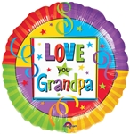 18 inch Love You Grandpa Foil Balloon, Price Per EACH, Minimum Order 10