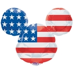 27 inch Disney Stars & Stripes Mickey Mouse foil patriotic balloon.
