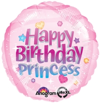18 inch Happy Birthday Princess foil balloon