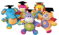 9 inch Color Block Grad Animals with Black Hat & Diploma