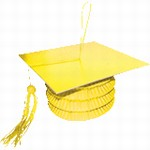 YELLOW Grad Cap Paper Lantern Weight