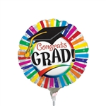 9 inch Grad Rainbow Stripes Foil Balloon