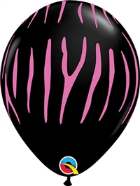 BLACK with PINK Zebra Stripes Balloon
