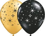 Sparkles and Swirls GOLD and BLACK Latex Balloon