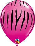 WILD BERRY with BLACK Zebra Stripes Latex Balloon