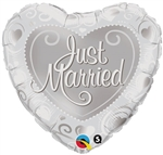 18 inch Just Married Hearts Silver foil balloon