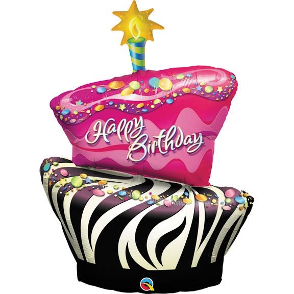 41 Inch Birthday Funky Zebra Stripe Cake Foil Balloon