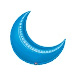 26in BLUE CRESCENT Foil Balloon, Price Per Package of 3