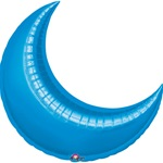 35in BLUE CRESCENT Foil Balloon, Price Per Package of 3