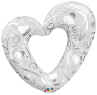 42 inch Hearts & Filigree PEARL WHITE Open Heart Balloon