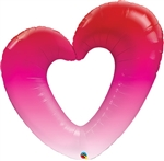 Pink Open Heart Balloon Foil Balloon