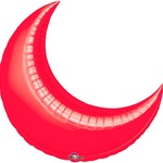 35in RED CRESCENT Foil Balloon, Price Per Package of 3