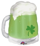 23 inch St. Patty's Green Beer Mug Foil Balloon