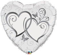 Silver Entwined Hearts Foil Balloon