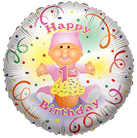 18 inch Happy 1st Birthday GIRL (2 side), Price Per EACH, Minimum Order 20