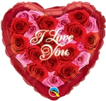 18 inch I Love You Hearts of Roses Foil Balloon