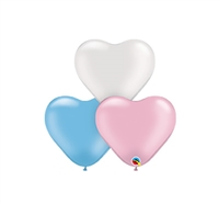 6in Qualatex Heart PEARL Assortment