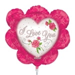 14 inch I Love You Ruffled Heart Pink Shape foil balloon