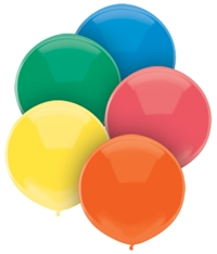 17 inch STANDARD ASSORTMENT Round PartyLoons Latex, Price Per Bag of 72