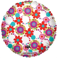 18 inch Decorative With Circles & Flowers Foil Balloon