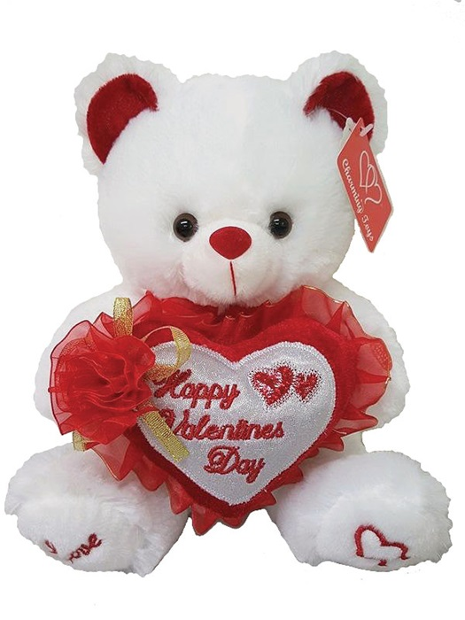 9in White Bear Holding Happy Valentine S Day Embroidered Heart