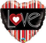 Love Red Stripes Foil Balloon